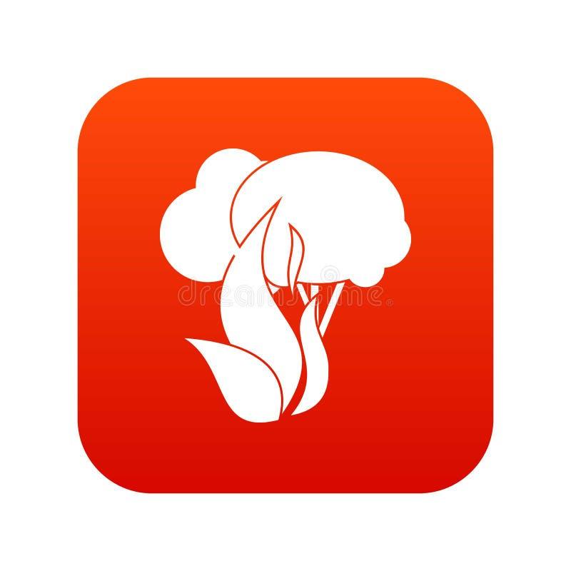 Rouge numérique d'icône brûlante d'arbres forestiers illustration libre de droits