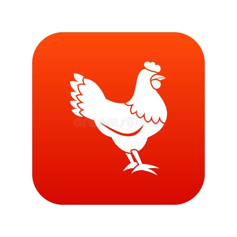 Rouge numérique d'icône de poule illustration de vecteur