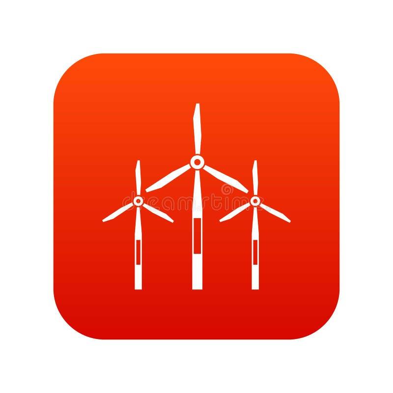 Rouge numérique d'icône de turbines de générateur de vent illustration stock
