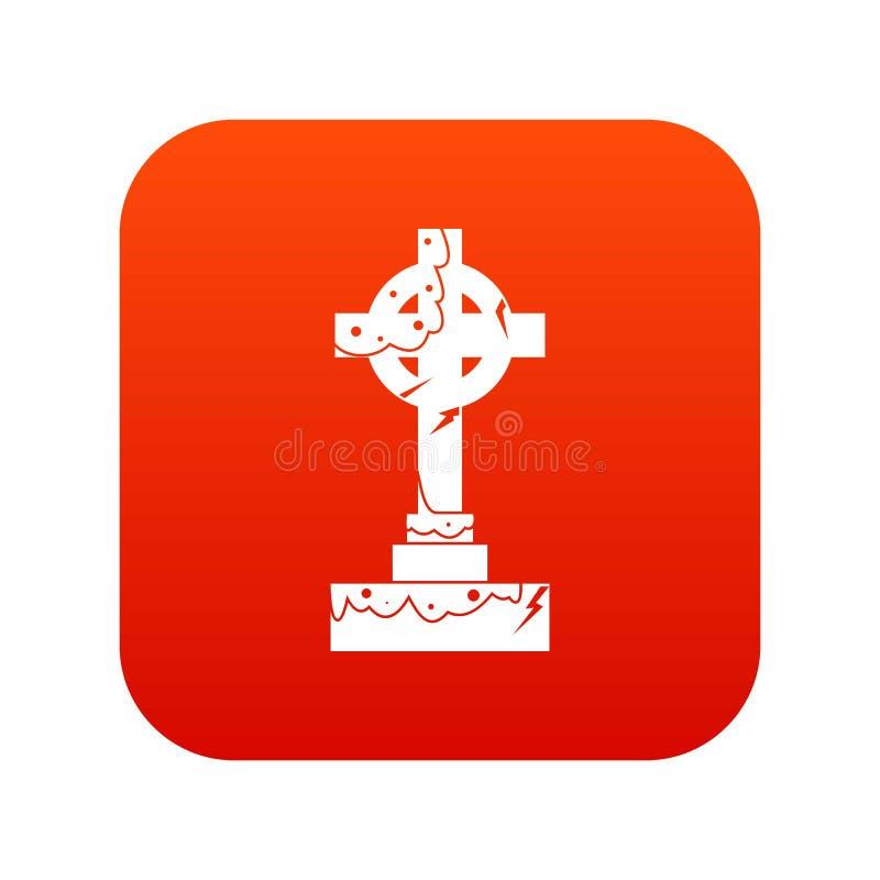 Rouge numérique d'icône irlandaise de croix celtique illustration stock