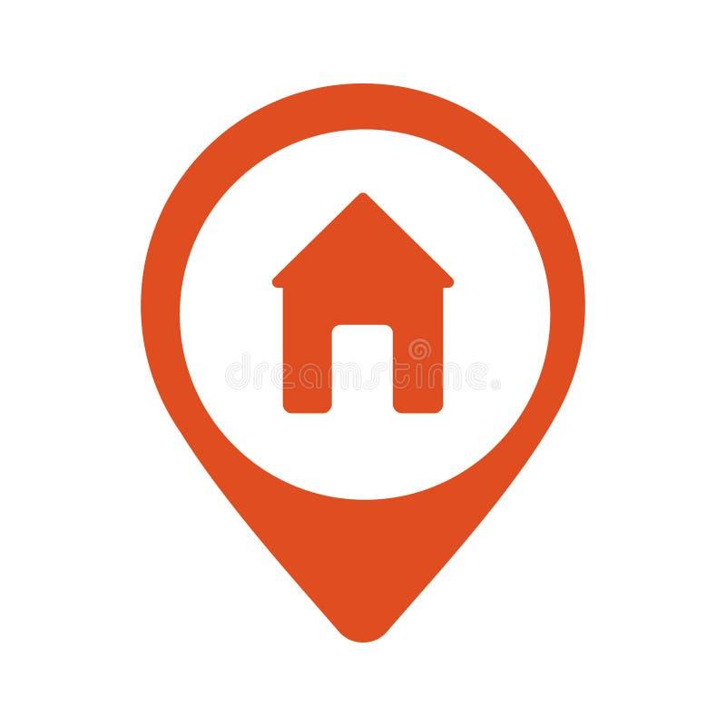 Rouge Pin Symbol de Real Estate illustration de vecteur