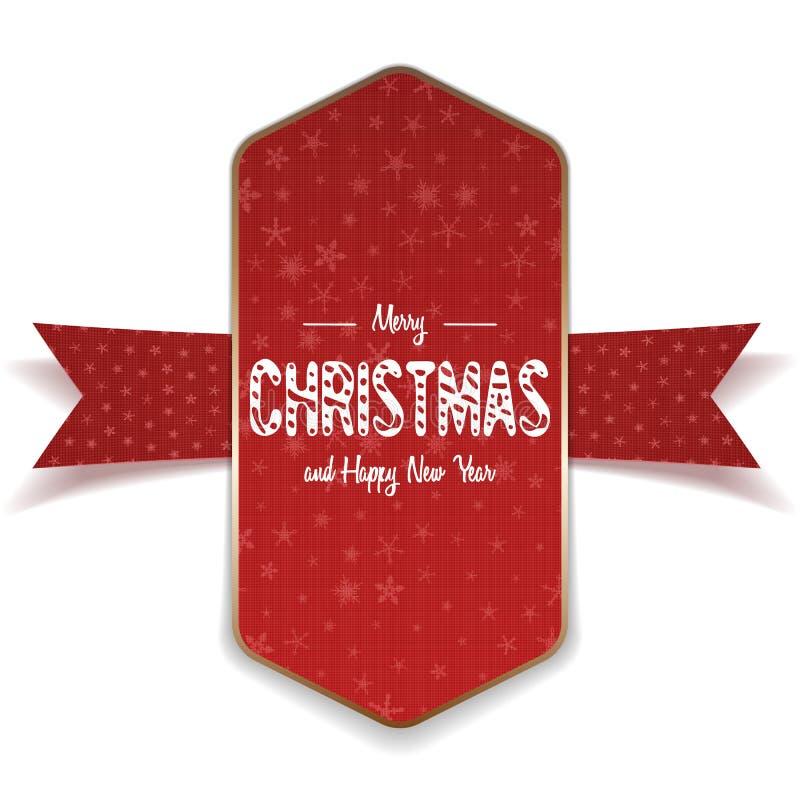 Rouge réaliste de Noël grand et bannière d'or illustration libre de droits