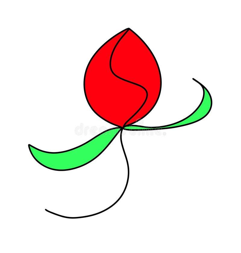 Rouge s'est levée l'usine abstraite d'herbes de fleur Illustration à la mode d'été à l'arrière-plan blanc d'isolement Ressort Pâq illustration stock