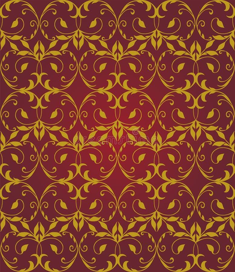 Rouge sans couture et modèle élégant floral d'or illustration de vecteur
