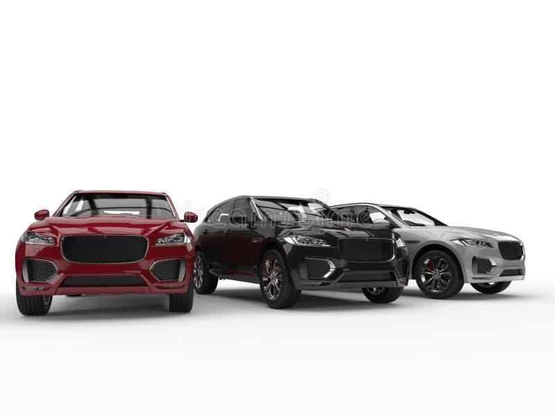 Rouge, SUVs moderne noir et blanc illustration libre de droits