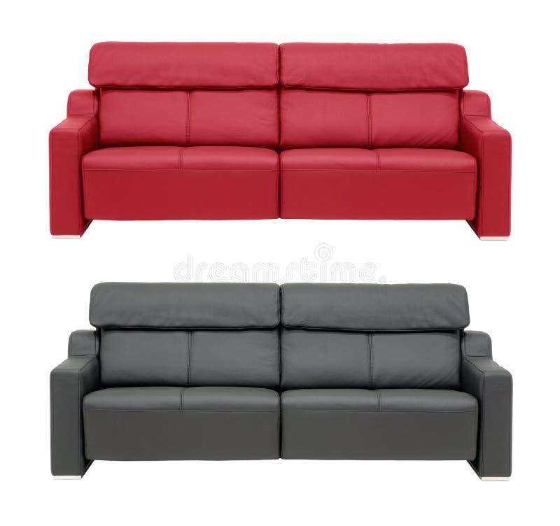Rouge un sofa noir image stock