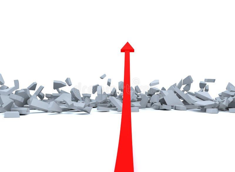 Rouge vers le haut d'étage de rupture de flèche illustration libre de droits