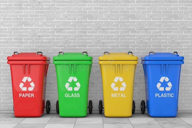 Rouge, vert, jaune et bleu réutilisez les poubelles avec réutilisent le symbole rendu 3d illustration libre de droits