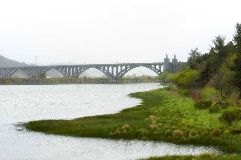 Rougeflod på den guld- stranden med Patterson Bridge i bakgrund arkivbild