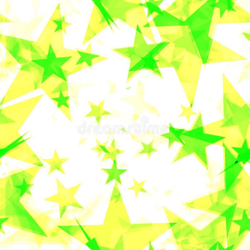 Rougeoyer étoiles jaunes et vertes sur un fond clair dans la projection et avec la profondeur illustration libre de droits