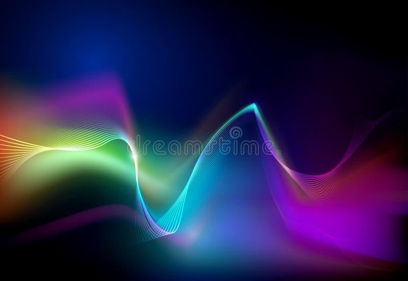 Rougeoyer abstrait d'illustration, effet de lampe au néon, ligne de vague, profil onduleux illustration libre de droits
