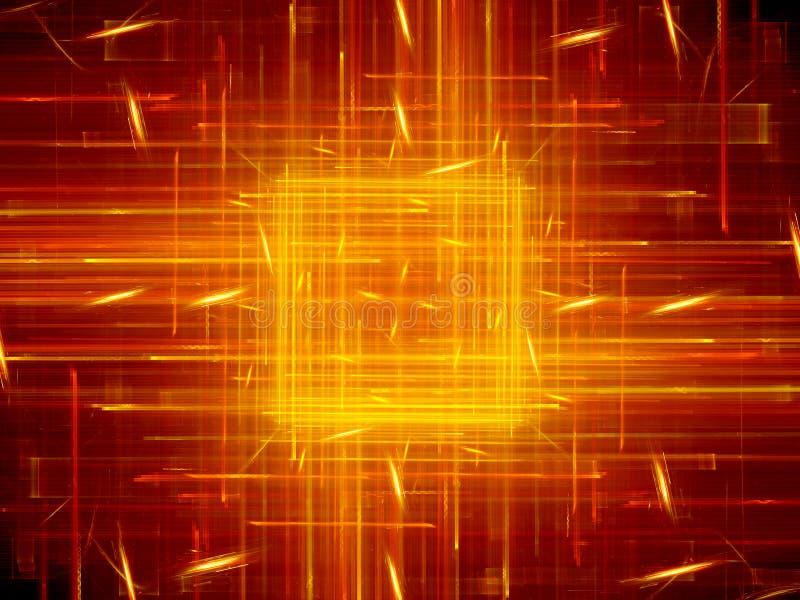 Rougeoyer ardent carré avec des lignes nouvelle technologie illustration libre de droits