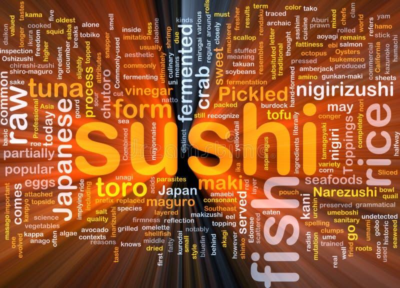 Rougeoyer de concept de fond de nourriture de sushi illustration stock