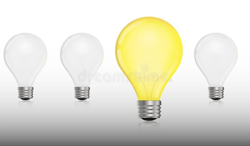 Rougeoyer et arrêtée ampoule électrique illustration stock