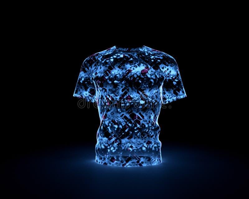 Rougeoyer olographe de T-shirt futuriste d'isolement sur le fond noir illustration stock
