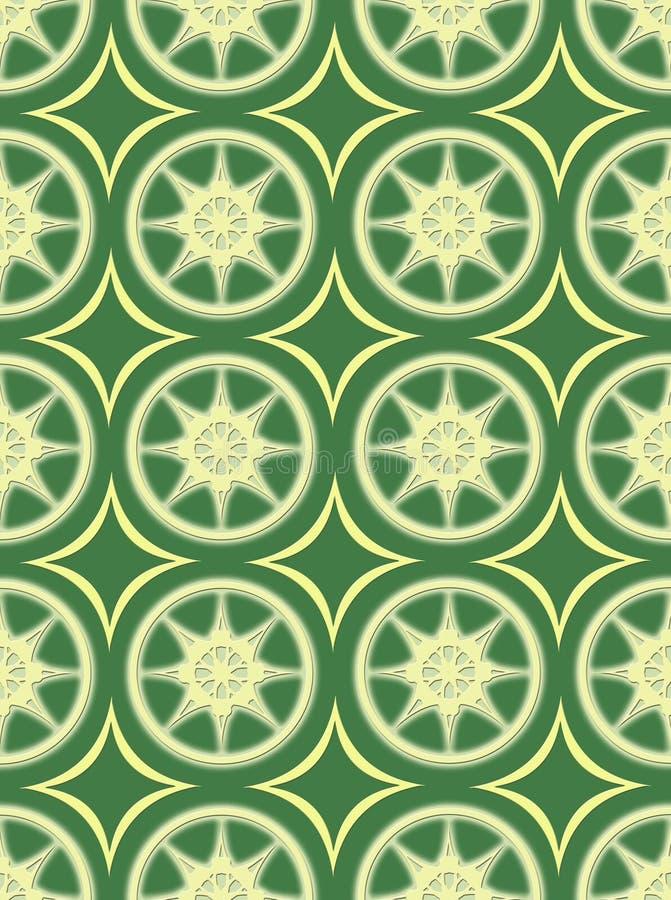 Rougeoyer sans joint crème sur la configuration verte de papier peint illustration libre de droits