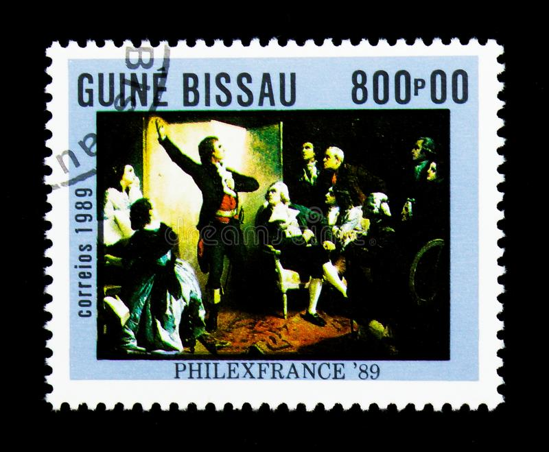 Rouget de Lisle singing the Marseillaise, Isidore Pils, Stamp. MOSCOW, RUSSIA - NOVEMBER 25, 2017: A stamp printed in Guinea-Bissau shows Rouget de Lisle singing royalty free stock image