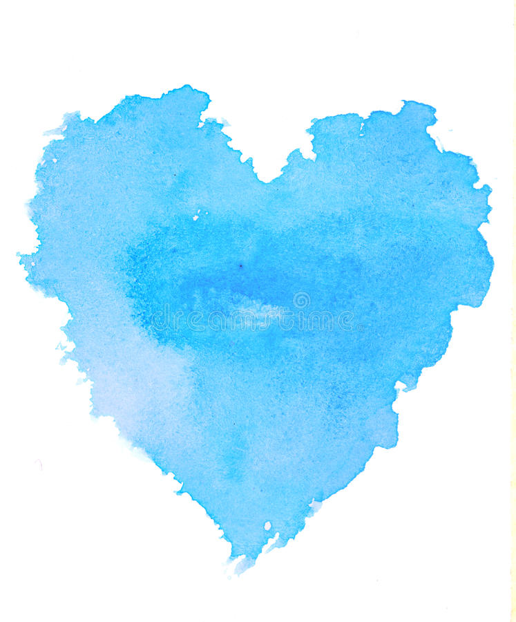Rough blue heart shape water color illustration on white background stock image