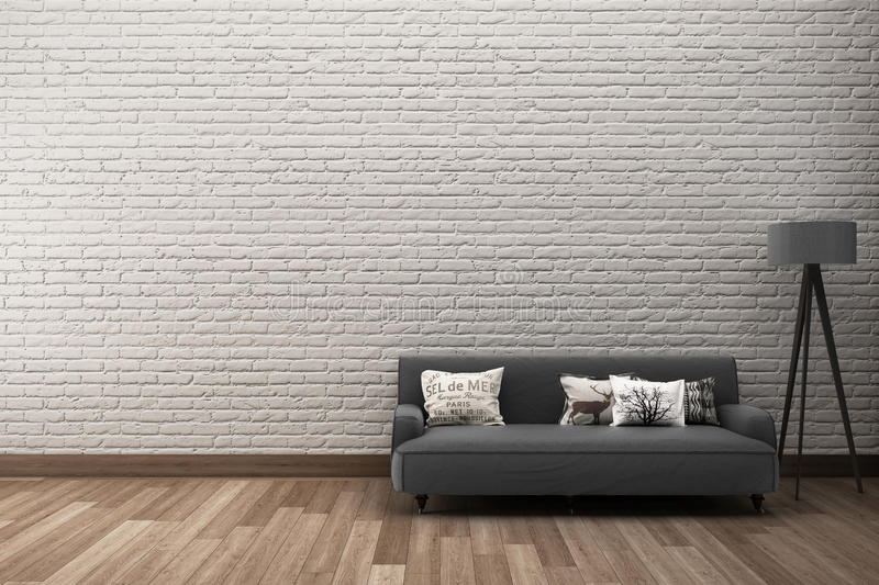 Rough brick wall with sofa. Mock up White rough brick wall & wooden floor with sofa royalty free illustration