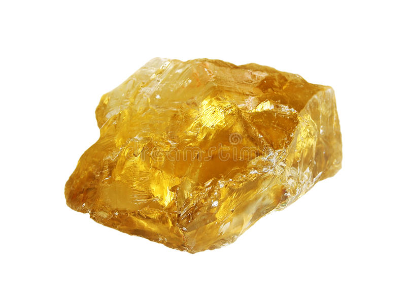 Rough citrine crystal on white royalty free stock photos