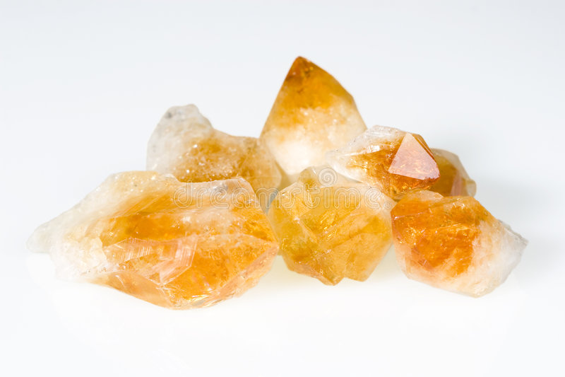 Rough citrine gemstones stock images