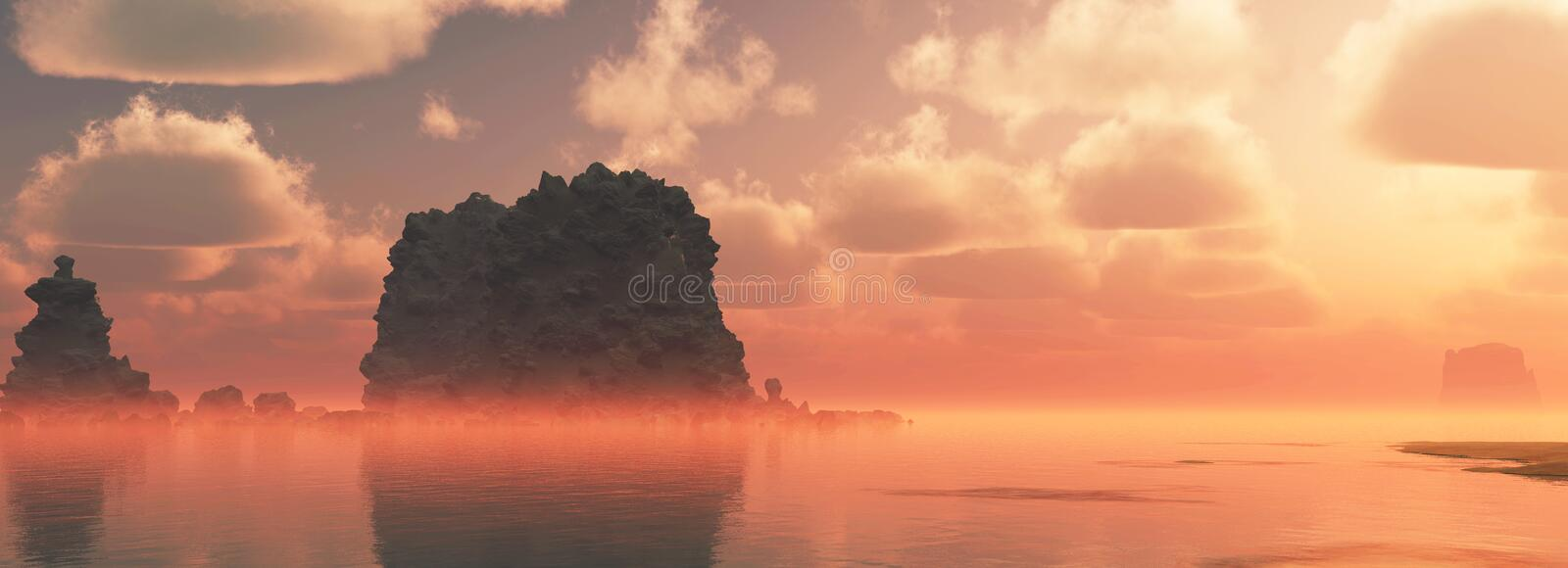 Rough coastal landscape with big rocks and cloudy sky at sunset. Mist over water. stock illustration