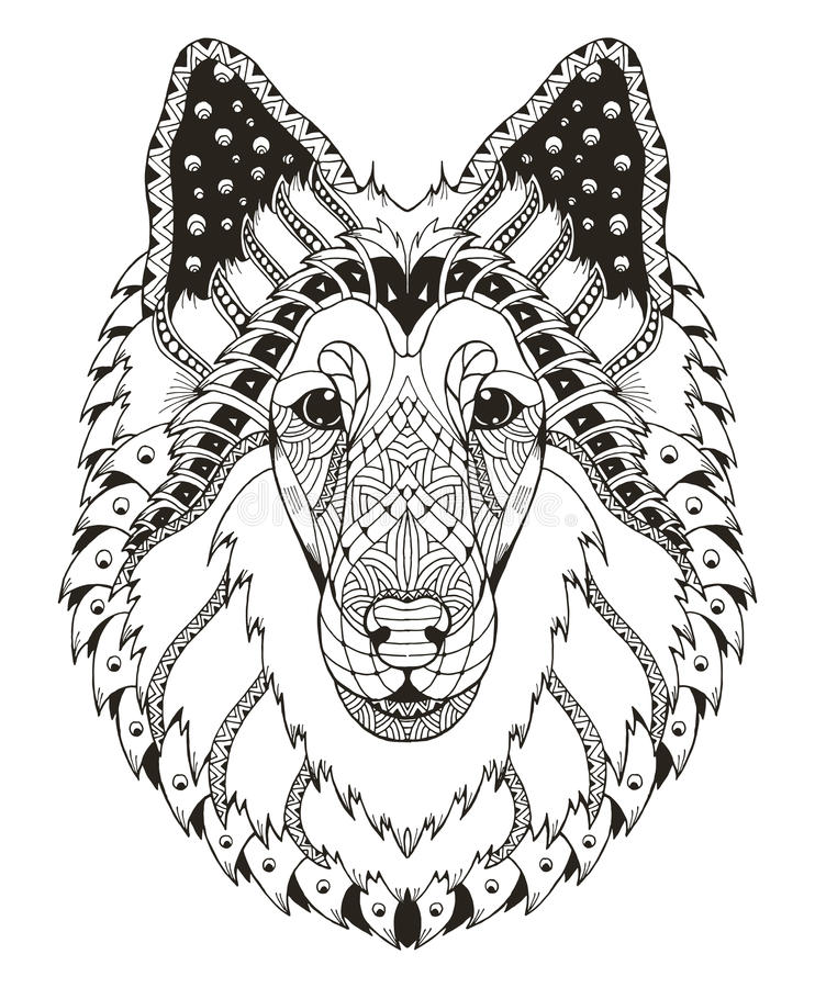 Rough collie dog head zentangle stylized, vector, illustration, stock illustration