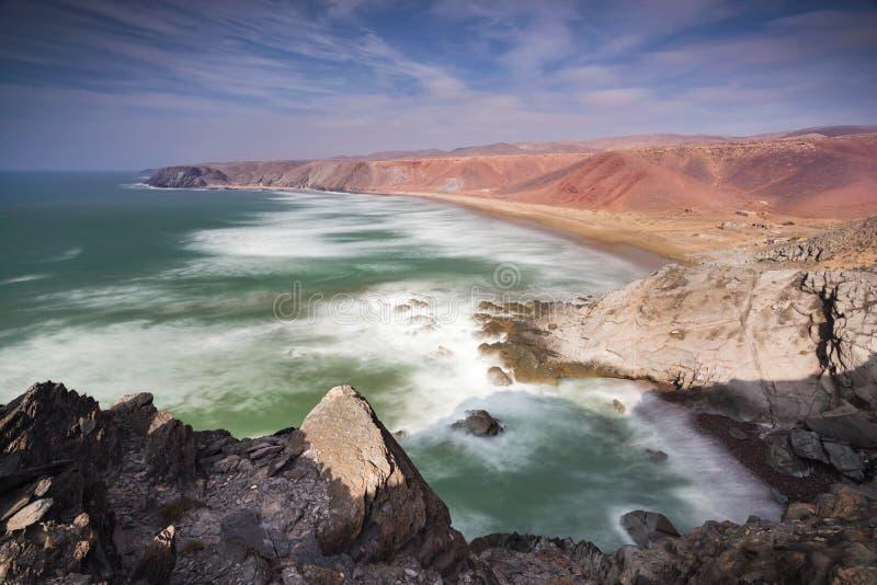 Rough colorful coastline Morocco stock photo