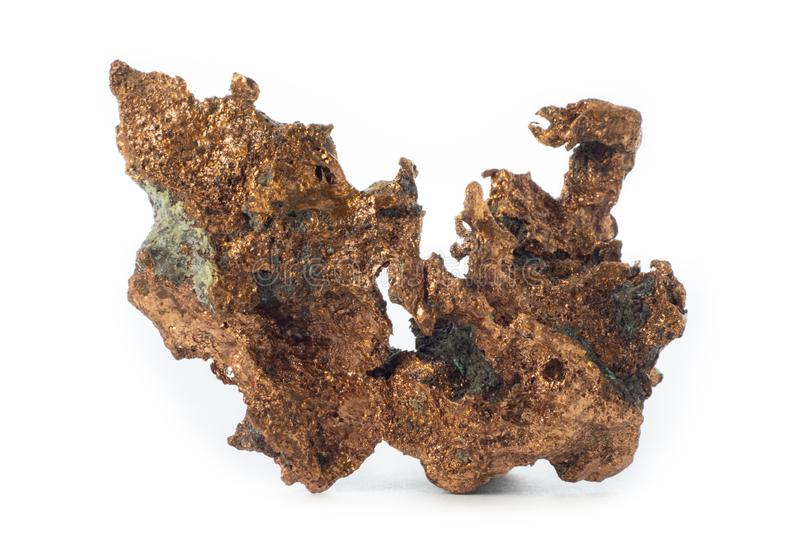 Rough cooper mineral from United States isolated on a pure white background.  royalty free stock image