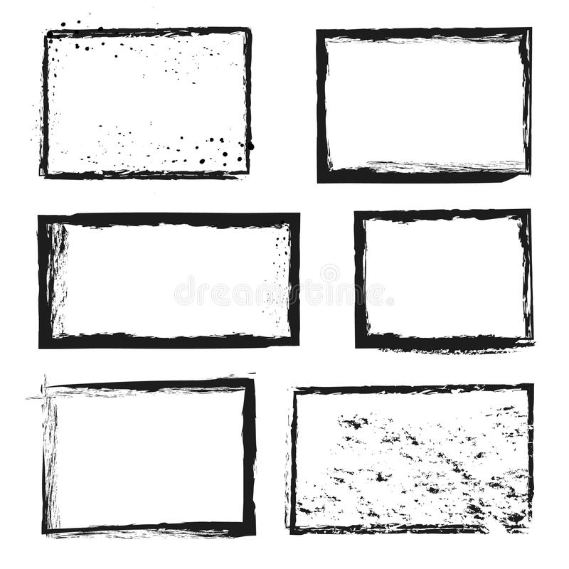 Rough grunge distressed ink vector image border frames royalty free illustration