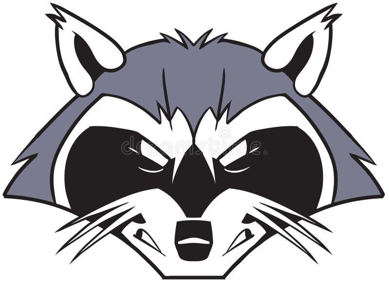 Rough Mean Cartoon Raccoon Mascot Head Stock Vector ... Raccoon Face Clip Art