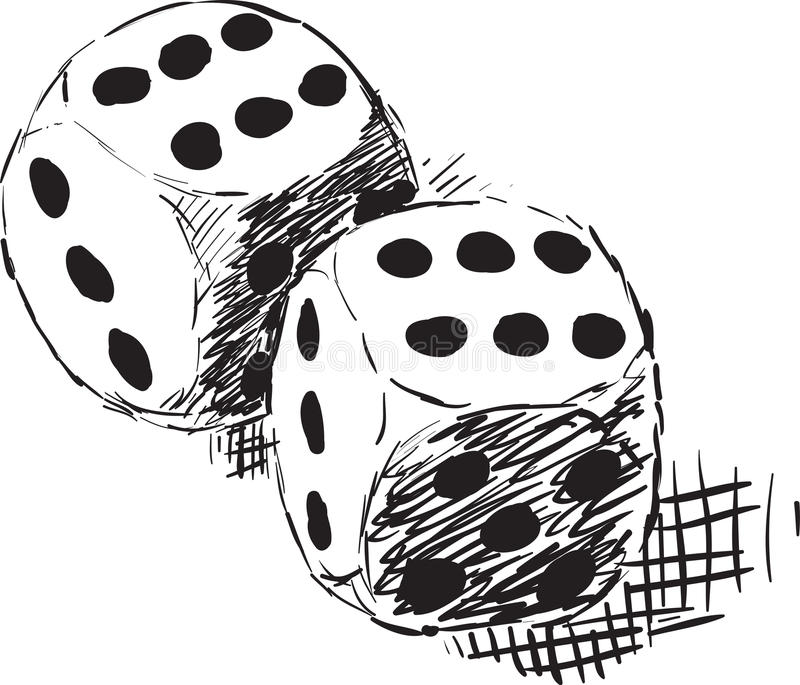 Download Rough Monochrome Sketch - Two Dices Stock Vector - Image: 18356750