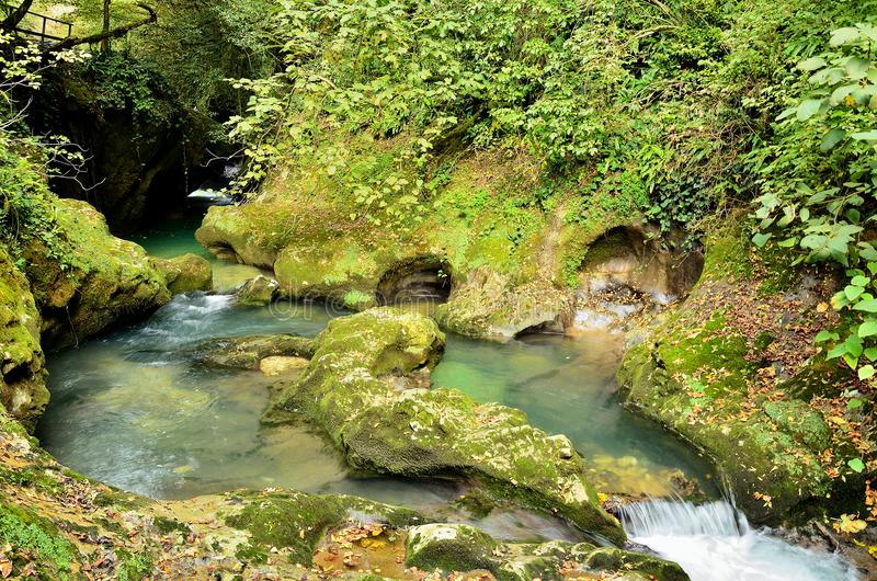 He rough mountain river flows among the stone banks. The turbulent mountain river flows among the stone banks overgrown with moss royalty free stock images