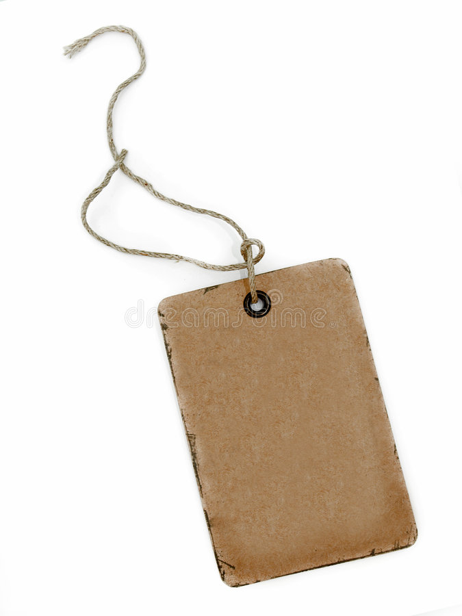 Rough old brown card tag label