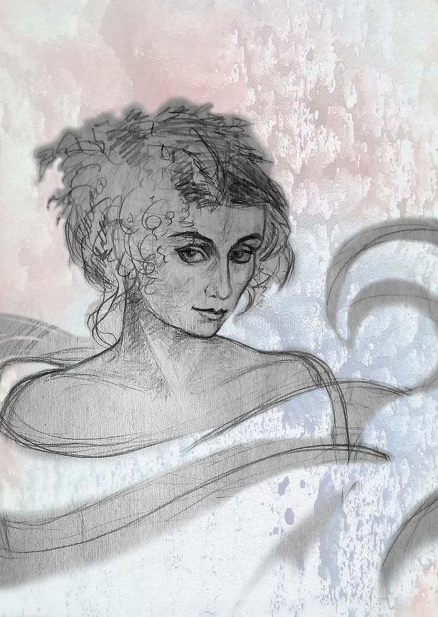 Rough pencil drawing of a woman on a bright spotted background. royalty free illustration