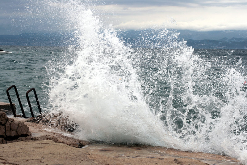Rough sea. On the coast in the summer stock photography