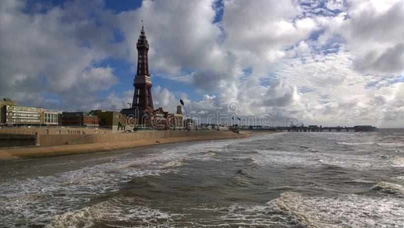 Rough Sea at Blackpool stock photo