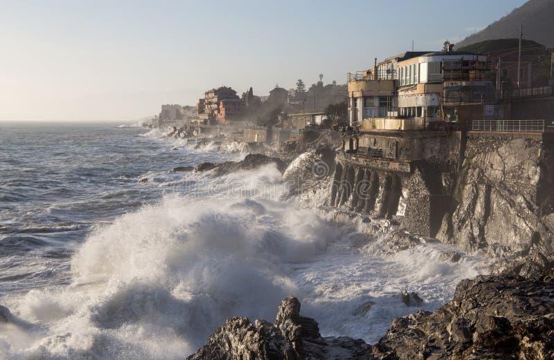 Rough sea in Genoa Nervi,  ligurian coast, Italy royalty free stock images