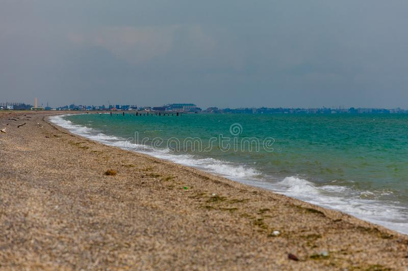 Rough sea before heavy storm. Cloudy weather royalty free stock images
