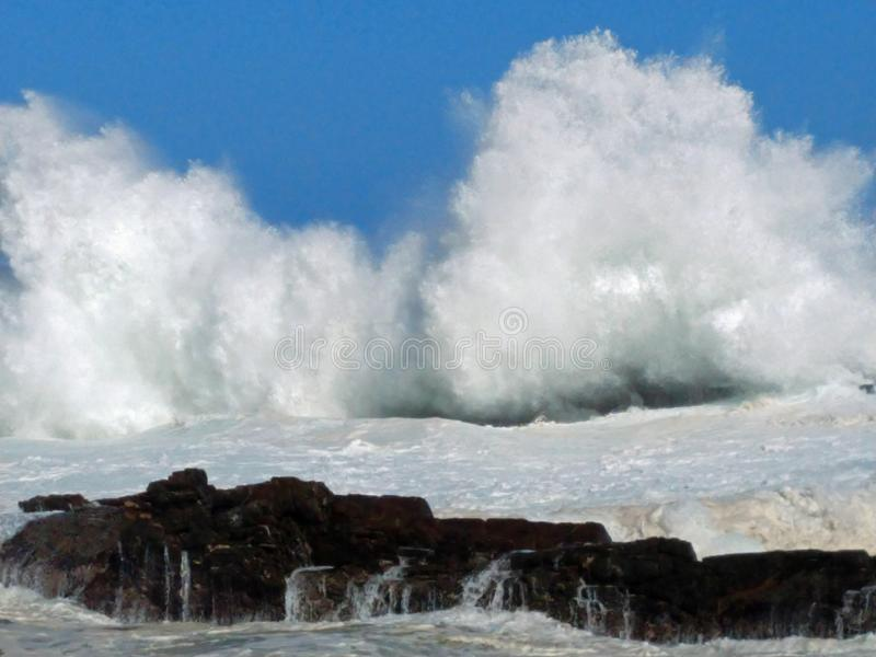 Rough Sea & High Waves, Storm's River, Tsitsikamma, South Africa. Rough sea & high breaking waves at the mouth of Storm's River, Tsitsikamma National stock photo
