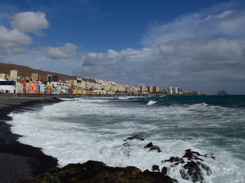 Rough sea, Las Palmas de Gran Canaria. Coast with rough sea, San Cristobal beach and Las Palmas city, Gran Canaria, Canary Islands stock photo