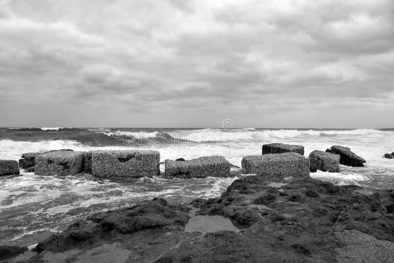 Marzamemi village siracusa. The rough sea at marzamemi Sicily Italy stock photo