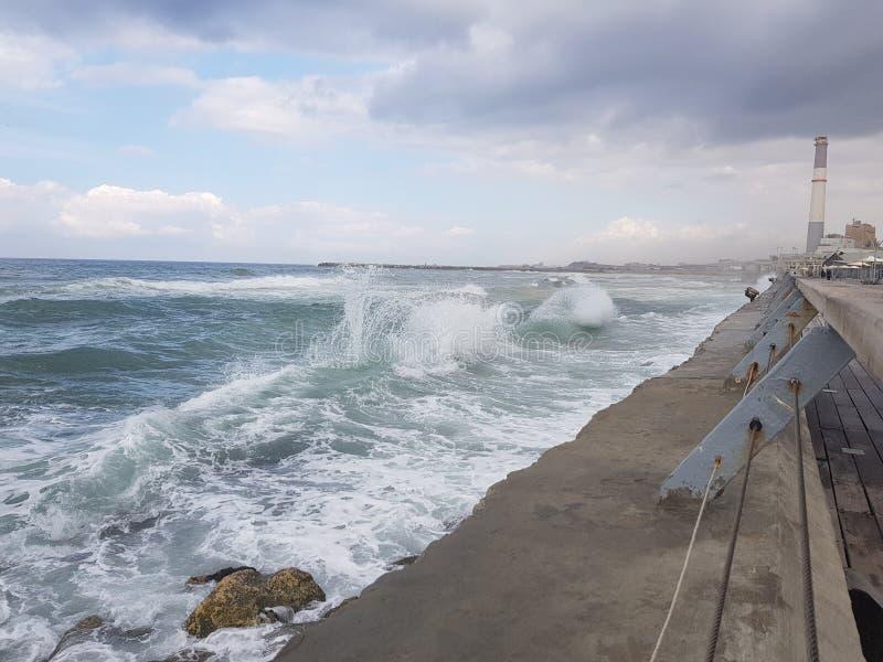 Rough sea in Tel-Aviv Israel royalty free stock images