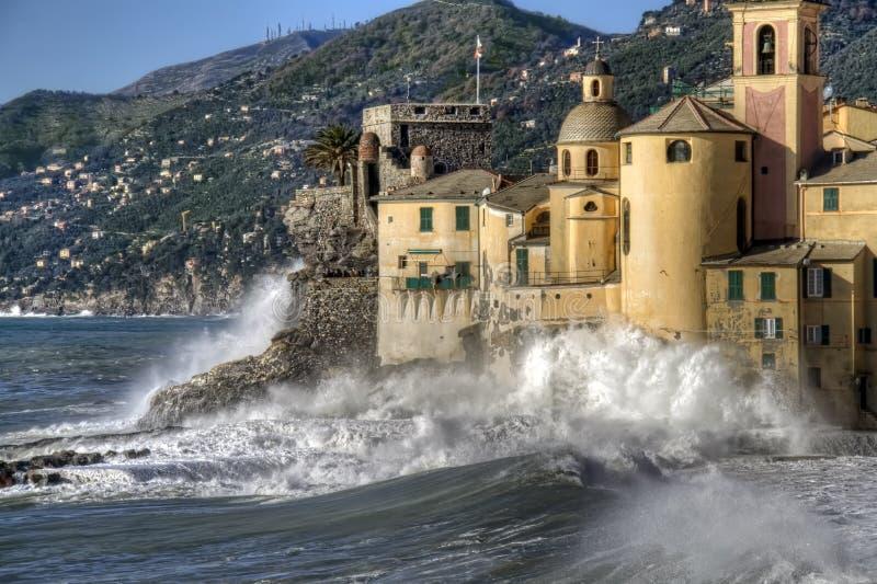 Rough seas in Camogli. To the church stock image