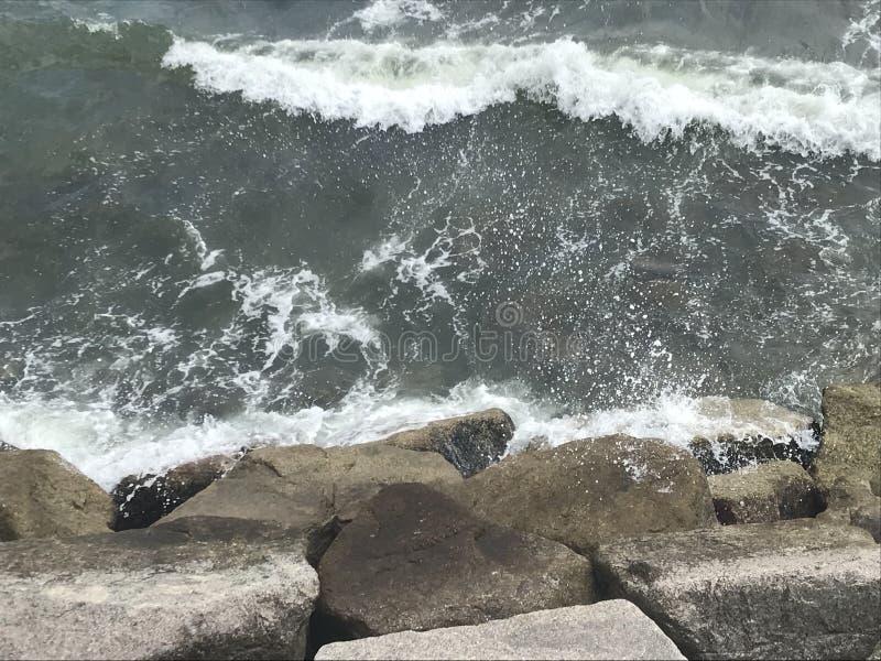 Rough seas. Captured in Tsing Lung Tau, Tsuenwan stock photo