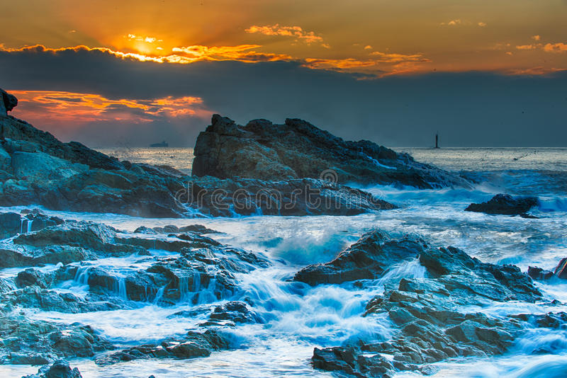 Download Rough seas at Dusk stock photo. Image of clouds, busan - 36214056