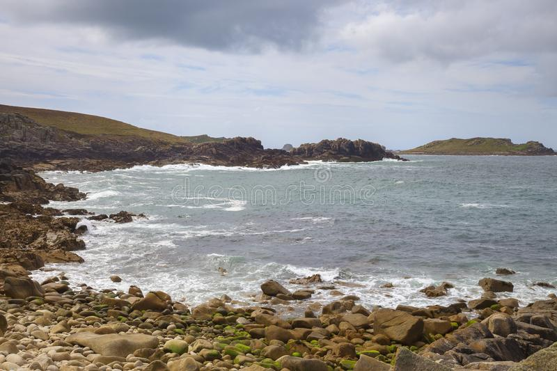 Rough seas at Hell Bay, Bryher, Isles of Scilly, England.  royalty free stock photo