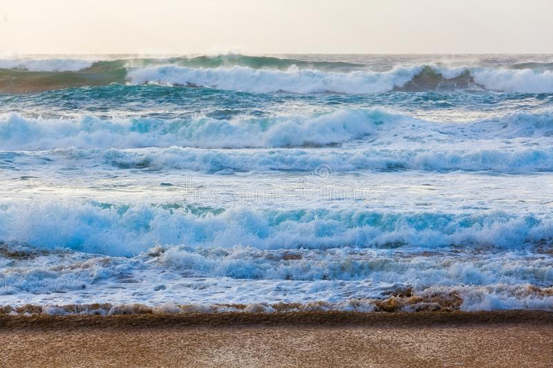 Rough seas near the beach. Rough seas near the beach - ocean waves crushing on the shore royalty free stock photos