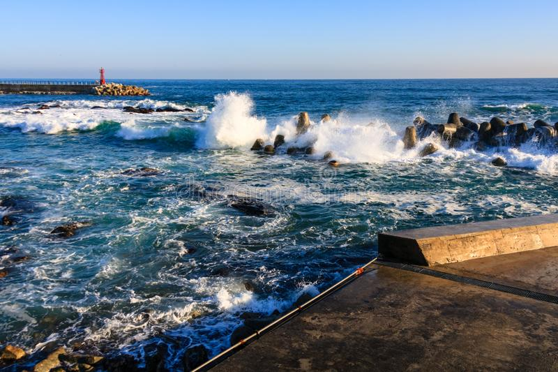 The rough seas of winter stock images