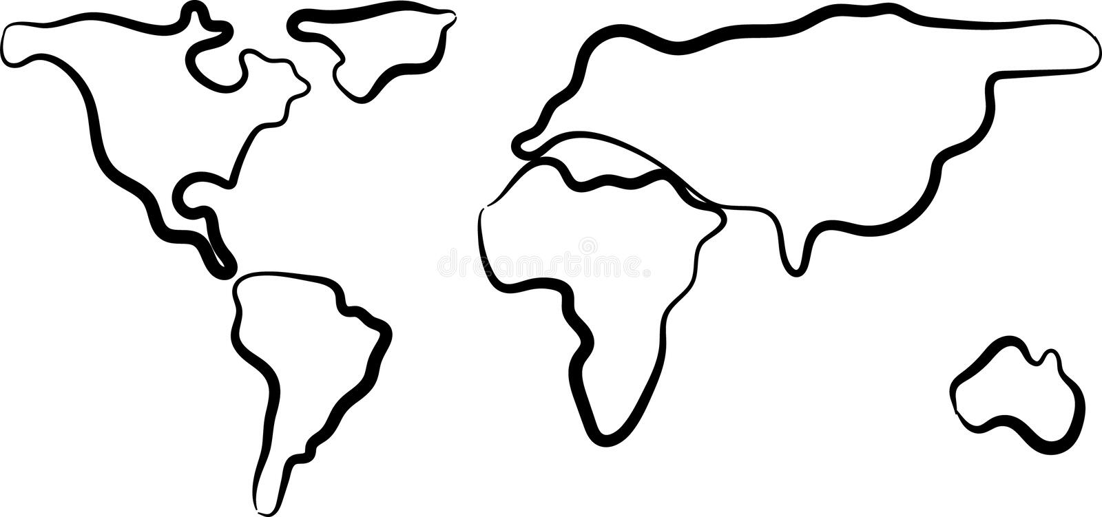 Rough sketch of black World map on white. Vector illustration. Rough sketch of black World map on white background. Vector illustration. Outlines. Contours of royalty free illustration